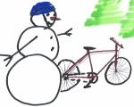 snowman with bike