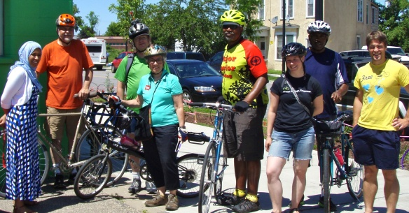 Group going on community ride